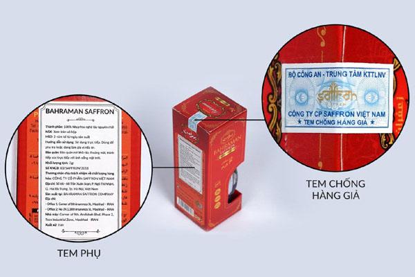 tem chống hàng giả trên sản phẩm saffron-bahraman chính hãng
